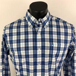 Southern Tide Button Up Shirt Plaid Blue White M